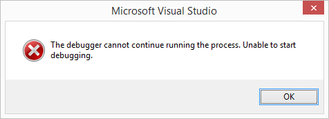 Debugger cannot continue running the process
