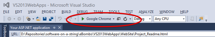 "VS2013 toolbar with start button showing ""Google Chrome"""