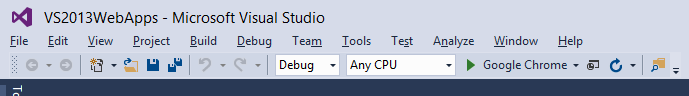 "VS2015 Start button now also reading ""Google Chrome"""
