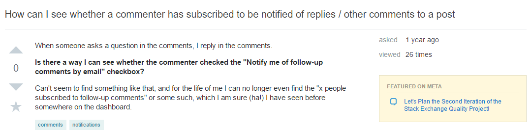 Comment subscription question