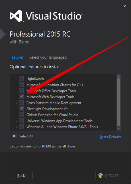 "VS2015 ""Modify"" Installation dialog"