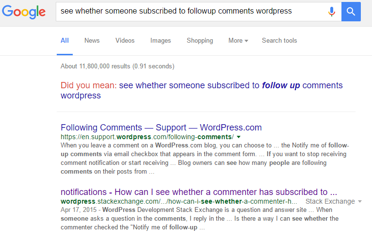 Comment subscription search results